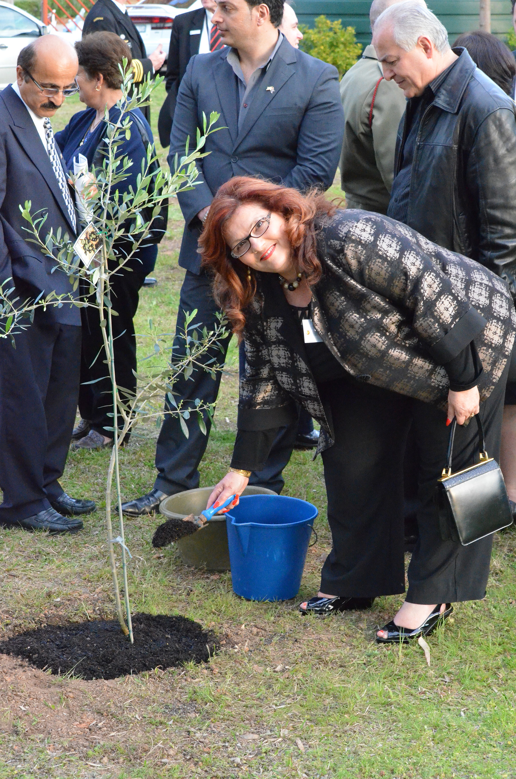 08 Keynote Speaker for the Lamia Barracks Commemoration Dr Maria Hill Planting Olive Tree 16 Sept 2011