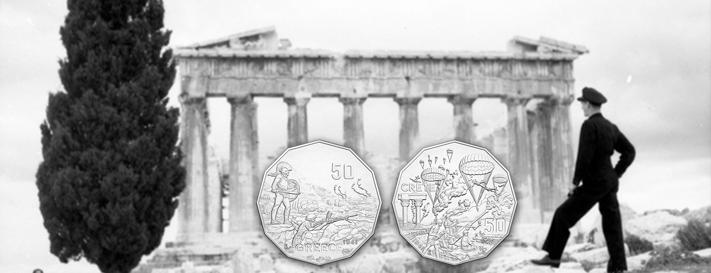 Uncirculated 50c coins commemorating the Greek Campaign and Battle of Crete